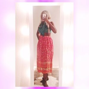 Vintage Pink Maxi Skirt, Made in India